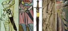 Comparision of representation of the most common in 13th century scabbard & sword belt style. Selected historical sources from Germany, Switzerland, France... 1240-1300