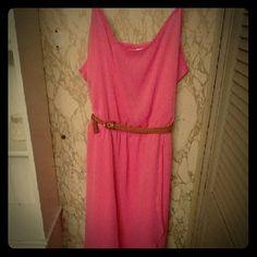Pink No Boundaries summer dress Sooo cute pink dress. Comes with tan belt, impulse buy. Fits everywhere besides bust:/ No tags but brand new never worn. The fabric is smooth and breathable. No Boundaries Dresses High Low