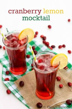 For my non-drinking friends: Enjoy this refreshing Refreshing Cranberry Lemon Mocktail, it takes only minutes to mix up this recipe and then you can just relax and enjoy the holidays. Gluten Free Christmas Recipes, Best Gluten Free Recipes, Allergy Free Recipes, Gluten Free Baking, Gluten Free Desserts, Foods With Gluten, Sans Gluten, Yummy Drinks, Healthy Drinks