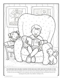 A family at Christmas Coloring page for Primary kids from ldsorg