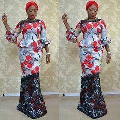 Africaine et dentelle guipure mélangent de jupe et chemisier Jupe sirène ensemble, africain, vêtements africain, robe de soirée de mariage Ankara, Maxidress africain