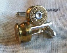 Bullet cufflinks 45 auto 1911 brass silver tone backings handgun groomsmen wedding cuff links men on Etsy, $25.95