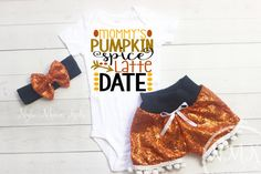 Our trendy Fall baby outfit for your little girl features an adorable Mommy's Pumpkin Spice Latte Date bodysuit, our signature sequin shorts, and a matching hea Babys First Thanksgiving, Baby Girl Thanksgiving Outfit, Fall Baby Clothes, Sequin Shorts, Pumpkin Spice Latte, Outfit Of The Day, Onesies, Baby Ideas, Outfits