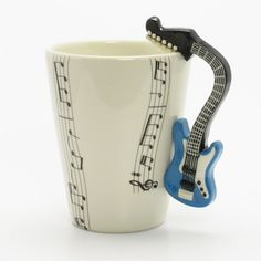 Blue Electric Guitar Mug 00008 Musical Ceramic Cup Handmade Music Lover Gifts Original Handcrafted Home Decor Coffee Cup Sculpt and Paint Guitar Painting, Guitar Art, Jazz Guitar, Blue Electric Guitar, Gift For Music Lover, Cool Inventions, Cool Gadgets, Microwave, Coffee Cups