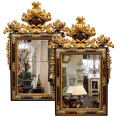 A Pair of Late 17th C. Venetian, Mother-of-Pearl-Inlaid and Giltwood Mirrors (Italy, circa 1700)