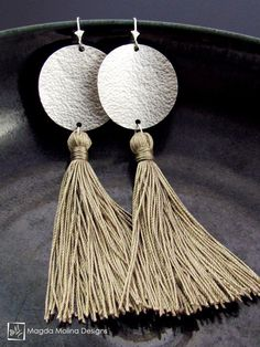 The Hammered Full Moon Silver Earrings With Handmade Silk Tassel jewelry silver handmade hand made love bridal wedding bride fashion style beige champagne - August 03 2019 at Leather Earrings, Leather Jewelry, Beaded Earrings, Earrings Handmade, Silver Earrings, Silver Jewelry, Silver Ring, Handmade Jewellery, Jewellery Box