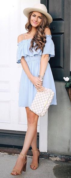 fashion trends outfit dress + bag + hat