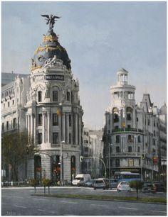 Alcalá y Gran Vía, Madrid,  óleo, 65 x 50 cm.