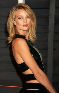 Rosie Huntington-Whiteley new blonde bob haircut in Long Square