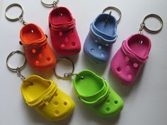 crocs keychain - why do i need one of these so bad. Cute Car Accessories, Jewelry Accessories, Croc Charms, Mini Craft, Cute Keychain, Keychain Ideas, Accesorios Casual, Miniature Crafts, Polymer Clay Charms