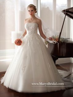 5d634ad1b0a Fairy Tale Princess by Mary s Style Strapless tulle bridal ball gown with  straight neckline