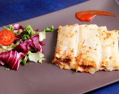 Restaurante A mesa Puesta: Canelones de berenjena y gambas con salsa Mornay