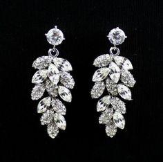 Bridal chandelier earrings, wedding jewelry, rhinestone chandelier ...