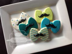 Little man, mustache, Bowie / first birthday / baby shower cookies  https://www.etsy.com/listing/157117193/1-dozen-bow-tie-mustache-cookie?ref=shop_home_active
