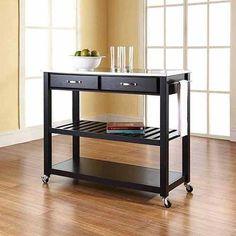 Crosley Furniture Stainless Steel Top Kitchen Cart with Optional Stool Storage