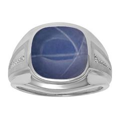 Diamond and Blue Star Sapphire Men's Large Ring In Sterling Silver Father's Day 2015 Unique Jewelry Gift Presents and Ideas. Gemologica.com offers a large selection of rings, bracelets, necklaces, pendants and earrings crafted in 10K, 14K and 18K yellow, rose and white gold and sterling silver for that special dad. Our complete collection and sale of personalized and custom gifts for dad: www.gemologica.com/mens-jewelry-c-28.html