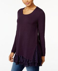 Style & Co. Lace-Inset Layered-Look Sweater, Only at Macy's | macys.com
