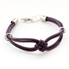 Berry Purple Leather Knot Bracelet-Square by CalypteCollection