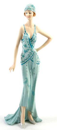 Art Deco Broadway Belles Lady Figurine Statue. Blue Teal Colour.