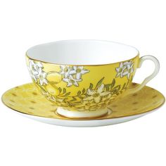Wedgwood Tea Garden Lemon & Ginger 2-Piece Set (235 PLN) ❤ liked on Polyvore featuring home, kitchen & dining, drinkware, wedgwood tea cups, wedgwood teacup, floral teacups, floral tea cups and wedgwood cups