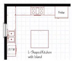 l shaped kitchen with island floor plan - Bing Images