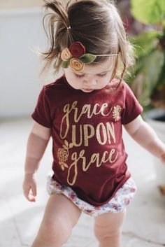 Scripture Shirt for girls - Girl's Bible shirt - Grace Upon Grace - Christian Shirts - Birthday gift for girl - floral - toddler - baby - stylish - trendy - cute - bow - headband - tees - afflink Outfits Niños, Kids Outfits, Stylish Outfits, Stylish Baby Clothes, Stylish Dresses, Fall Outfits, Fashion Kids, Toddler Fall Fashion, Latest Fashion