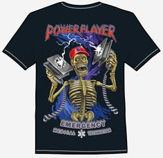 POWER PLAYER An  electrifying symbol of death is approaching you and brandishing life-saving defibrillators. Shockingly, it's Power Player emergency medical technician skeleton delivering a dose of electrons straight to your heart and saving your life! He's wearing a red EMT hat and is framed by fancy lettering. Buy this shirt and support your local emergency teams. Emergency Medical Technician, Skeleton, Tee Shirts, Death, Fancy, Lettering, Eye, Mens Tops, How To Wear