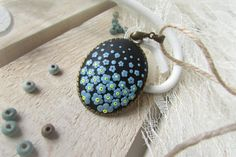 Polymer clay jewelry Necklace pendant Forget me by VinetaHandMade