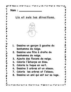 French Poems, French Worksheets, Core French, French Resources, Becoming A Teacher, Following Directions, French Immersion, Teaching French, Kindergarten Teachers