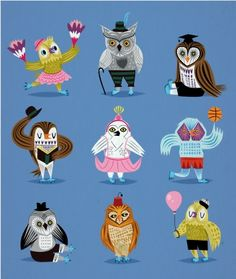 Owls Wearing Outfits by Iota Illustration