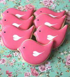 Pink love bird cookies by Miss Biscuit