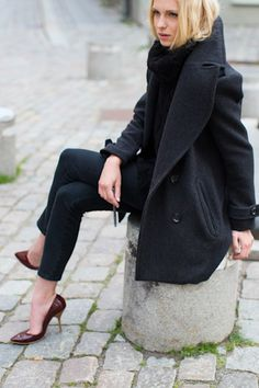 love the oversized peacoat...and her heels