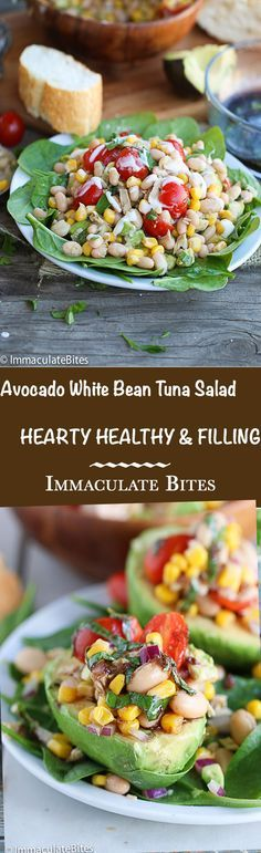 Avocado White Bean Tuna Salad - With Corn , Tomatoes and paired with herb dressing.
