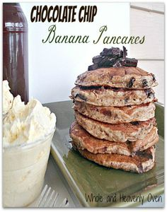 Chocolate Chip Banana Pancakes: Moist and fluffy buttermilk pancakes with the fun additions of banana and chocolate chips!