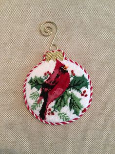 Red Bird Ornament  ~ Canvas by Whimsy&Grace