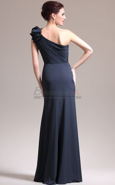 #bridesmaiddresses Dark Navy Chiffon One Shoulder Long Mermaid Bridesmaid Dress JT-CA1387