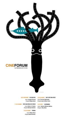 Pablo Amargo (b. 1971, Spain), CineForum La Literatura en el Cine (Literature in the Cinema). Design Poster, Logo Design, Poesia Visual, Magazine Cover Design, Animal Posters, Design Research, Collage Artists, Book Cover Design, Logo Nasa