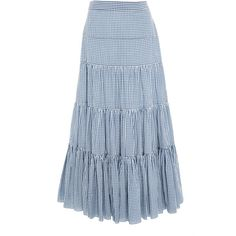 Caroline Constas Gingham Peasant Skirt ($495) ❤ liked on Polyvore featuring skirts, suit, blue, peasant skirt, tiered skirt, blue high waisted skirt, blue tiered skirt and high-waist skirt