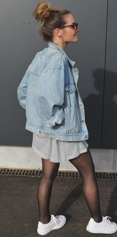 what to wear with a denim jacket : grey dress + sneakers