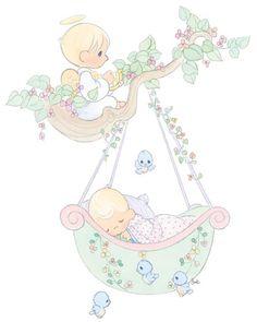 precious moments baby with angel Precious Moments Coloring Pages, Precious Moments Quotes, Precious Moments Figurines, Cute Images, Cute Pictures, Images Lindas, Baby Clip Art, Baby Scrapbook, Digi Stamps
