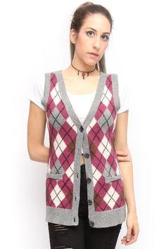 Ralph Lauren 90's Clueless Argyle Sweater Vest Gray Pink White | eBay