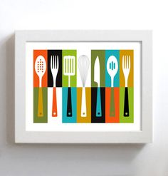 Kitchen Art - Mid Century - Cathrineholm  - Retro Kitchen Decor - Cooking Utensils