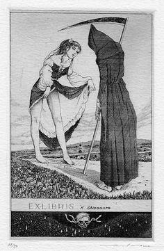 Ex.Libris. Death grim reaper Father Time scythe maiden girl woman dance danse macabre skull skeleton