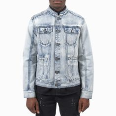 Re-Stocked! The Mandarin Collar Denim Bleach Jacket is back in town! Love Warriors, Winter Sale, Mens Outfitters, Mandarin Collar, Bleach, Menswear, Denim, Jackets, Stuff To Buy