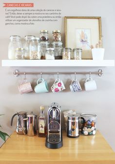 48 Unique Mug Storage Solutions That You Need To See Today . A mug rack says a lot about what a person likes to drink and what they like to drink it in. When walking into a persons home, a mug rack prominently d. Ikea Design, Design Café, Deco Design, Design Ideas, Interior Design, Coffee Station Kitchen, Home Coffee Stations, Kitchen Trolley, Coffee Mug Storage