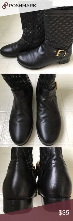Quilted leather boots, gently used size 38 Made in Italy...see photos for imperfection Shoes Ankle Boots & Booties