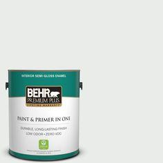 BEHR Premium Plus 1-gal. #W-F-510 Silver Sky Zero VOC Semi-Gloss Enamel Interior Paint