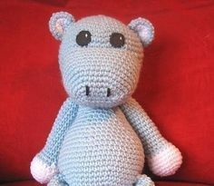 Free Crochet Pattern: Hippo, cute: thanx so for share (could add ears for rabbit, ears for bear. Great base pattern) xox