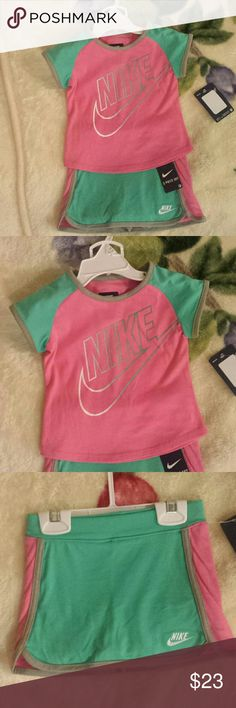 Baby girl 24 month Nike outfit Brand NEW with tags Shirt with skirt and shorts attached (skort) Nike Matching Sets