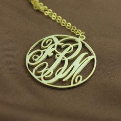 Solid Gold Vine Font Circle Initial Monogram Necklace